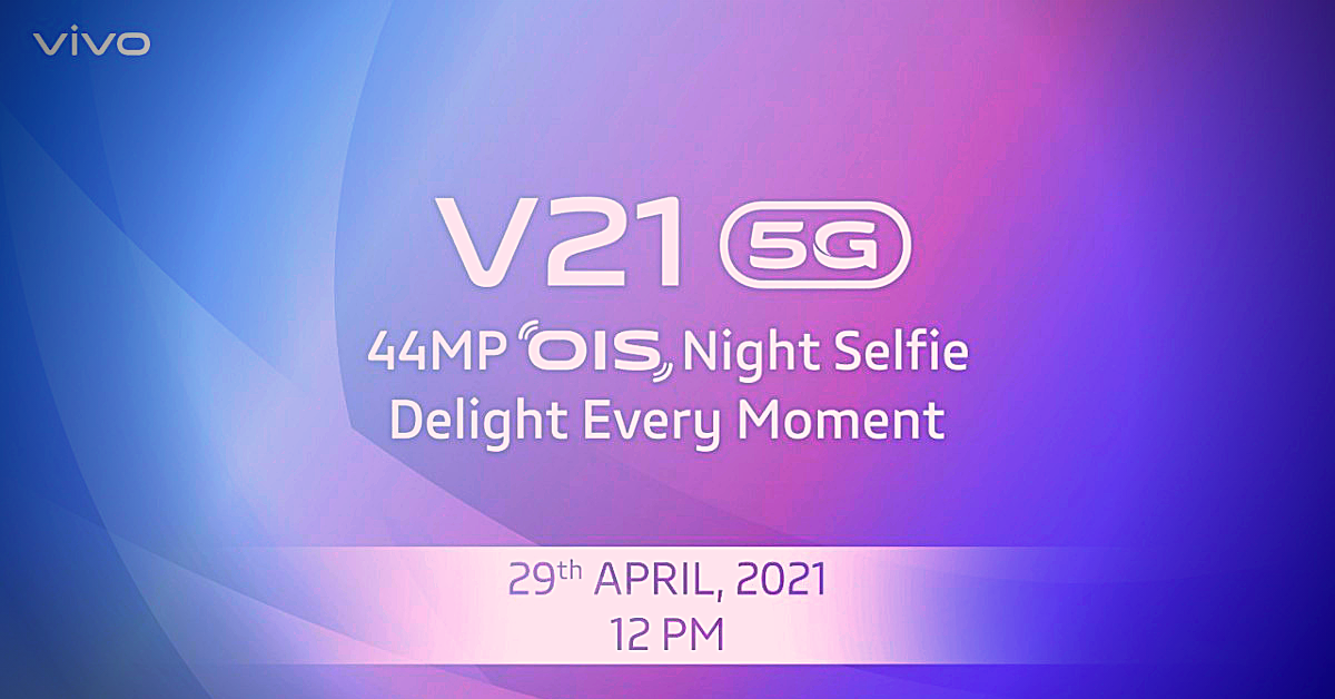 Vivo is launching the V21 5G in the Indian Market on April 29